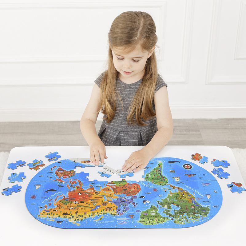 Rompecabezas educativos de juguete cognitivo MiDeer 100 Uds. Para niños, Mapa Mundial de Geografía Humana, juego de rompecabezas para suelo, regalo para niños con caja