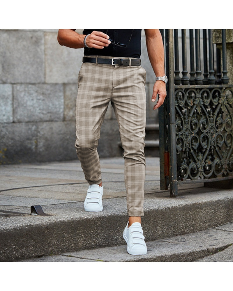 Brand Men's Plaid Pants Casual Elastic Long Trousers Cotton Gray Black Blue Skinny Work Pant for Male Classic Clothing Jogging
