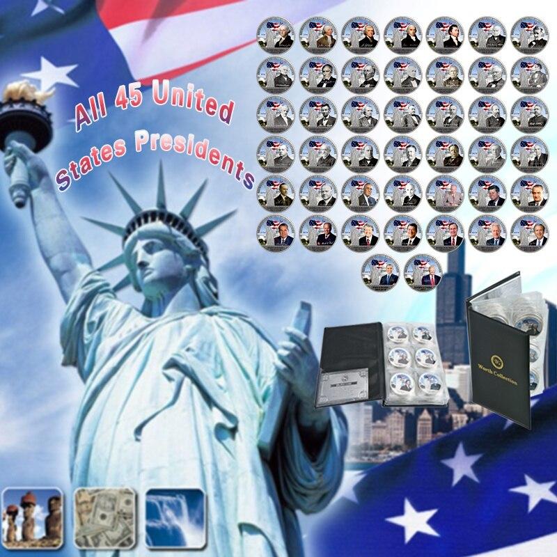 WR 45 Uds todas las monedas de Presidente de los Estados Unidos único americano Chapado en plata copia de Metal Souvenir regalo de cumpleaños para la decoración del hogar