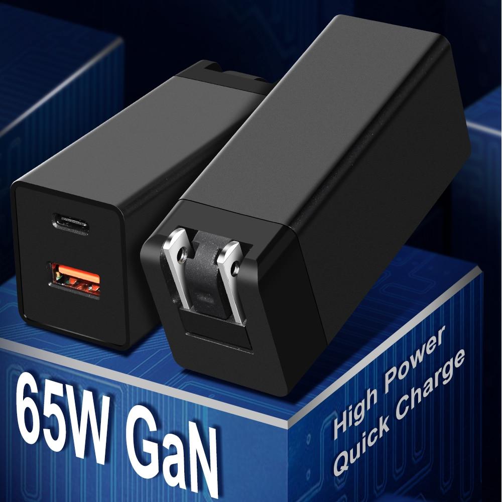 شاحن GaN 65W PD USB C مع شحن سريع 4.0 3.0 USB منفذ شاحن الهاتف لماك بوك لشاومي لأجهزة الكمبيوتر المحمول Samsung