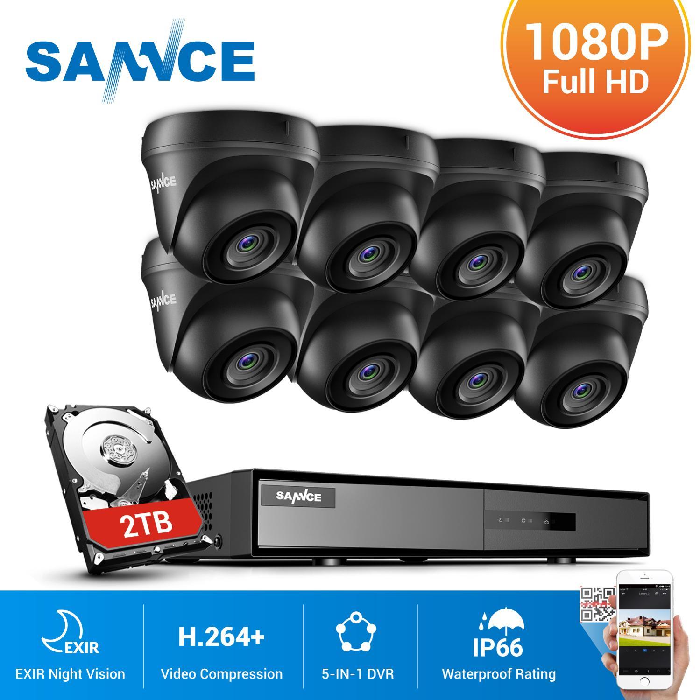 SANNCE 8CH 1080N DVR 1080P الأمن كاميرا نظام الدائرة التلفزيونية المغلقة 8 قطعة 1080P كاميرات الدوائر التلفزيونية المغلقة P2P في الهواء الطلق للماء فيديو طق...