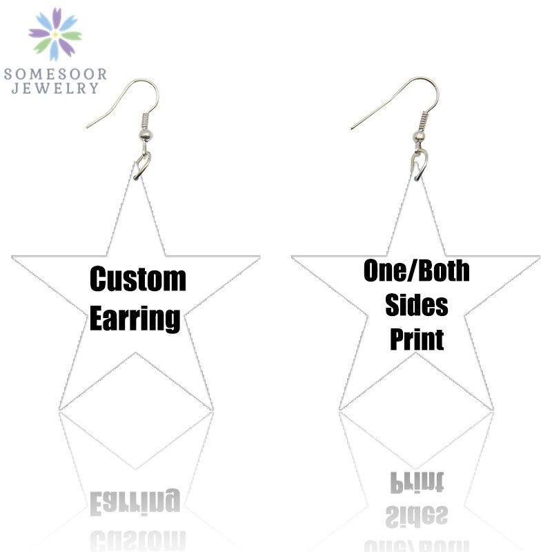 SOMESOOR Personalized Star Design Afro Wood Earrings African Bohemain Pendant Dangle Print Blacks Art Custom Jewelry For Women