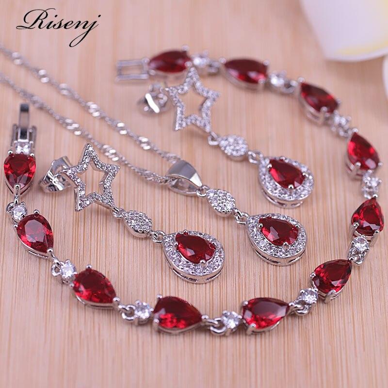 Risenj china cor sorte pedra vermelha estrela & gota de água traje jóias conjunto brincos do parafuso prisioneiro colar pingente conjunto na loja
