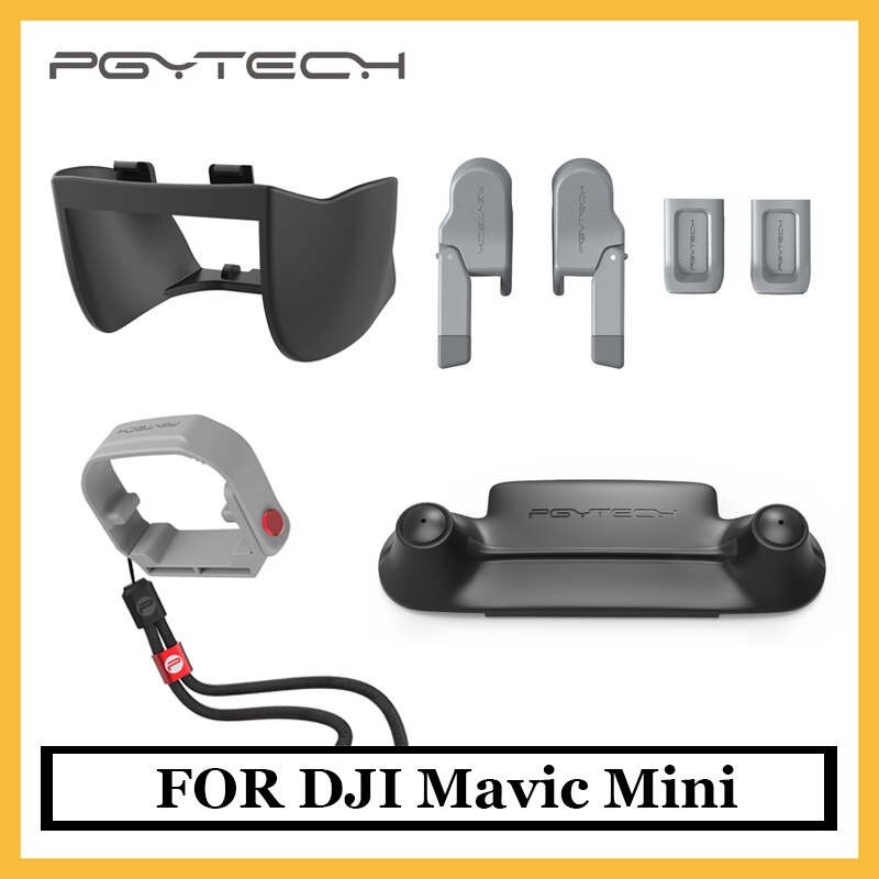 Original PGYTECH Mavic Mini cubierta de lente, extensión de engranaje de aterrizaje, controlador de balancín, soporte de Hélice para DJI Mavic Mini accesorio