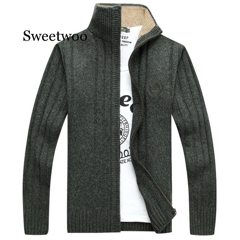 Autumn Men's Long Sleeve Knitted Cardigan Full Zipper Sweater Coat New Brand Solid Quality Men's Clothing Winter Casual Outwear casual crochet baby sweater for boys solid warm autumn cardigan knitted kids long sleeve sweater school coat baby boys clothing