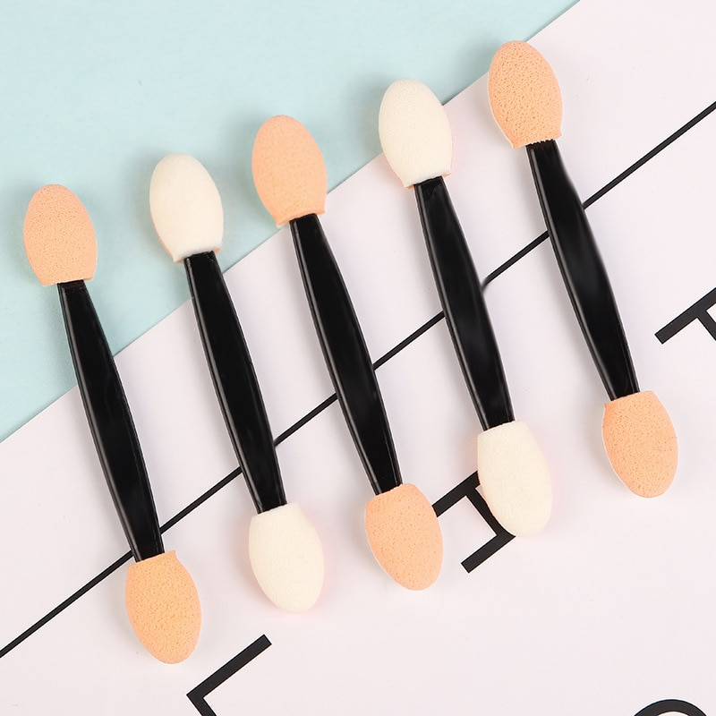 wholesale Sponge Powder Puff Nail Brush Double-sided Eye shadow Stick Cosmetic Makeup Glitter Pigment Brush Nail Art Tool Set