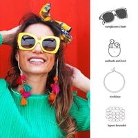 euro multifunctional boho fashion colorful pompom tassel cotton rope metal chain for sunglasses lanyard womens face mask chain