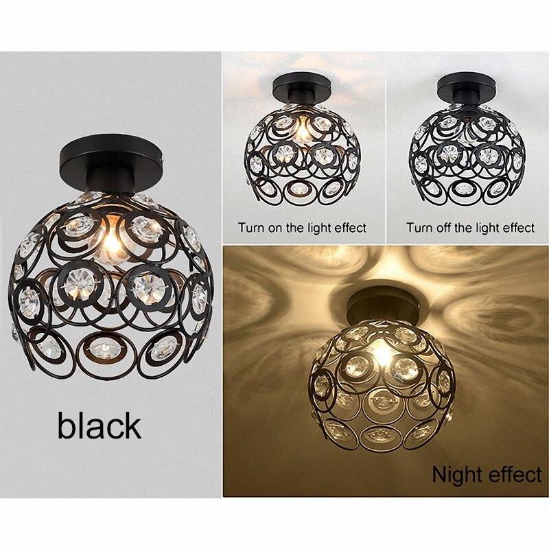 E27, luz de techo minimalista de cristal creativo negro, lámpara de techo de pared individual, lámpara de dormitorio, lámpara de hierro individual europea, lámpara de cristal