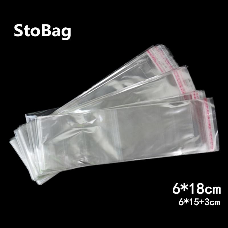 StoBag 1000 piezas 6*18cm bolsa de celofán transparente autoadhesiva bolsa delgada bolsa de plástico largo OPP bolsa de embalaje para regalo de caramelos