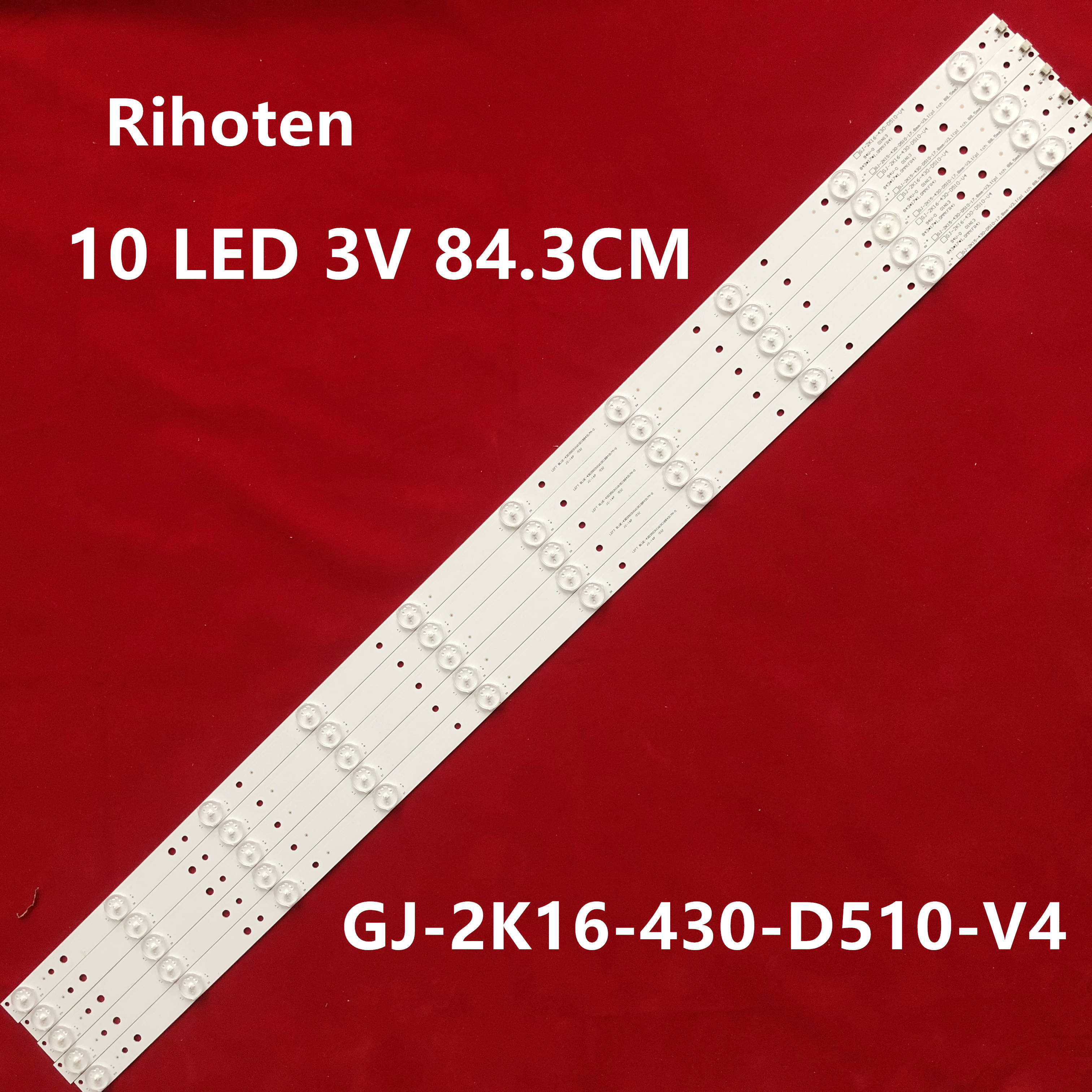 "Lámpara de 10 tira de LED para iluminación trasera para televisor Philips de 43 "", 43PFT4131, 43PFS5301, GJ-2K15-430-D510, GJ-2K16-430-D510-V4, 01Q58-A, BDM4350"