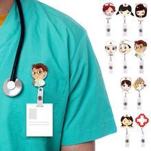 Dibujos Animados enfermera Doctor carrete retráctil Tarjeta de Identificación etiqueta tarjeta para nombre Clip titular