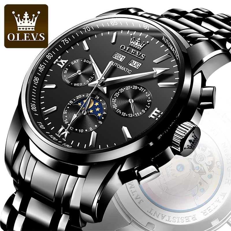 OLEVS 2021 New Luxury Automatic Mechanical Stainless Steel Strap HD Luminous Moon Phase 30M Waterproof Reloj Hombre 6633 enlarge