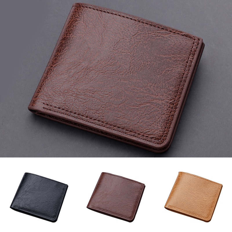 Vintage Business Solid Simple Mini Men's Leather Wallet Money Clip With Metal Clamp Slim Purse Card Slots Cash Holder For Man