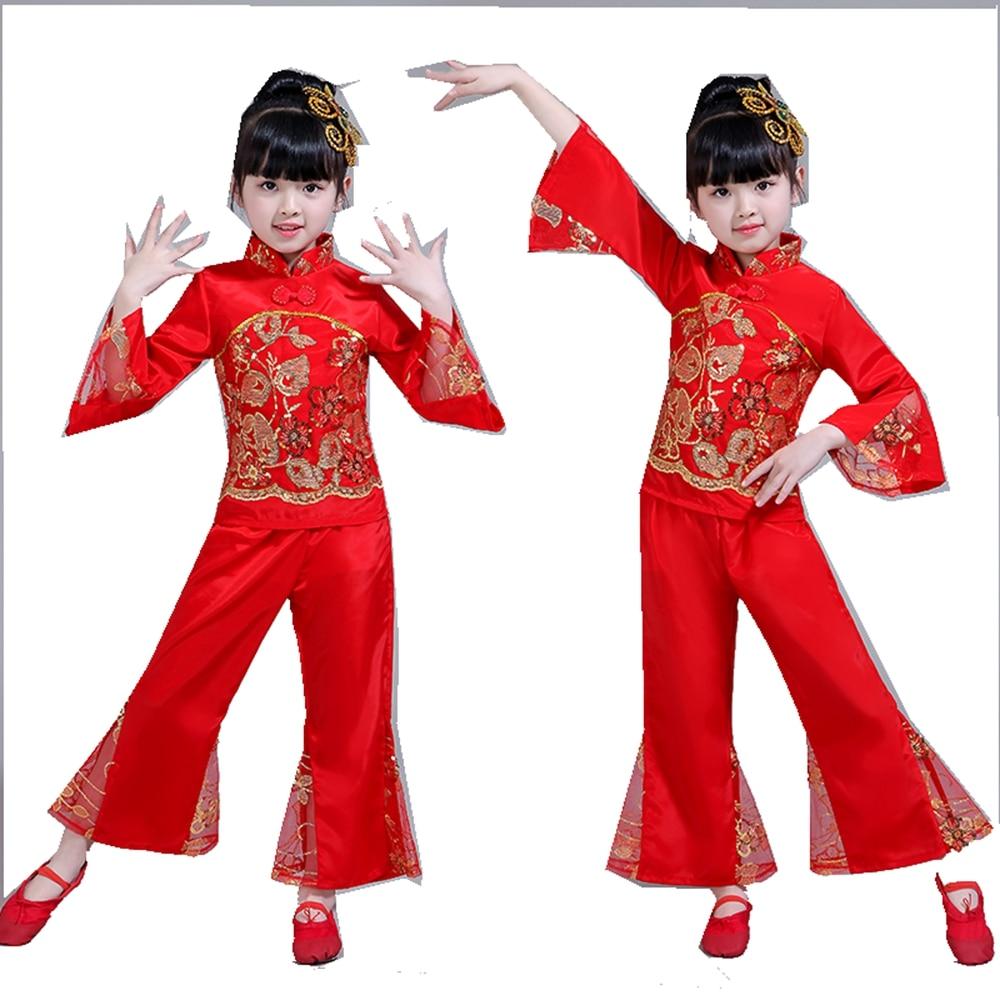 Yangko Dance Costume Chinese Folk Dance Costume Children's Waist Drum Dance Wear Classical Fan Show Girls National Dance Clothes chinese style hanfu yangko dance clothes squares fan dance national dance clothes stage dance costume