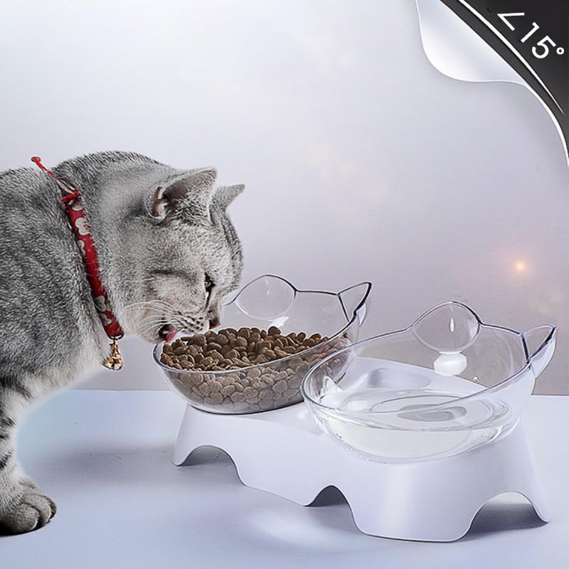 Nuevo plástico Bol doble para mascotas para perros cachorro comida para gatos agua comedero mascotas alimentación platos perro proteger vértebra Cervical inclinación