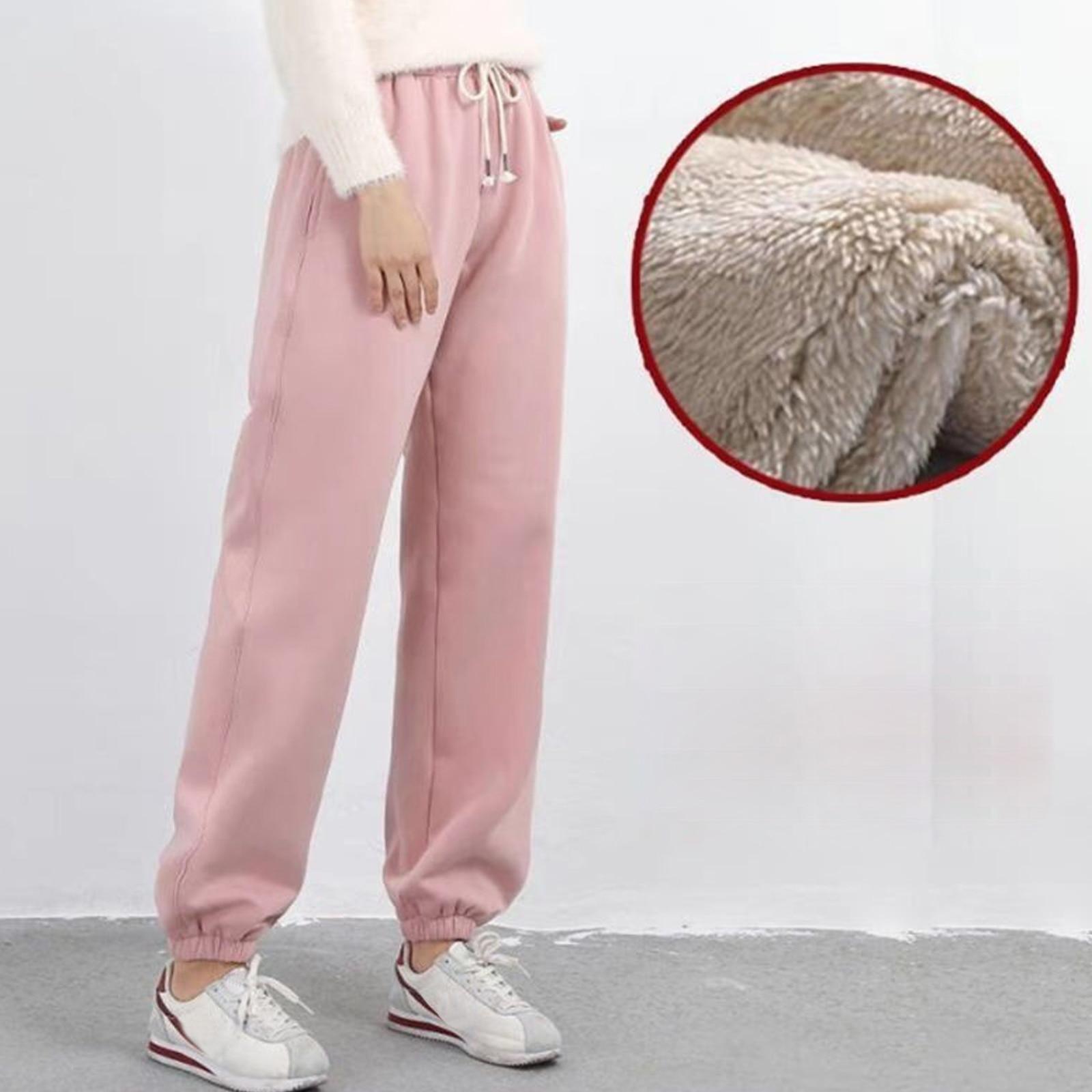 Женские спортивные штаны для тренажерного зала, тренировочные флисовые брюки, однотонные плотные теплые зимние женские спортивные штаны, б...
