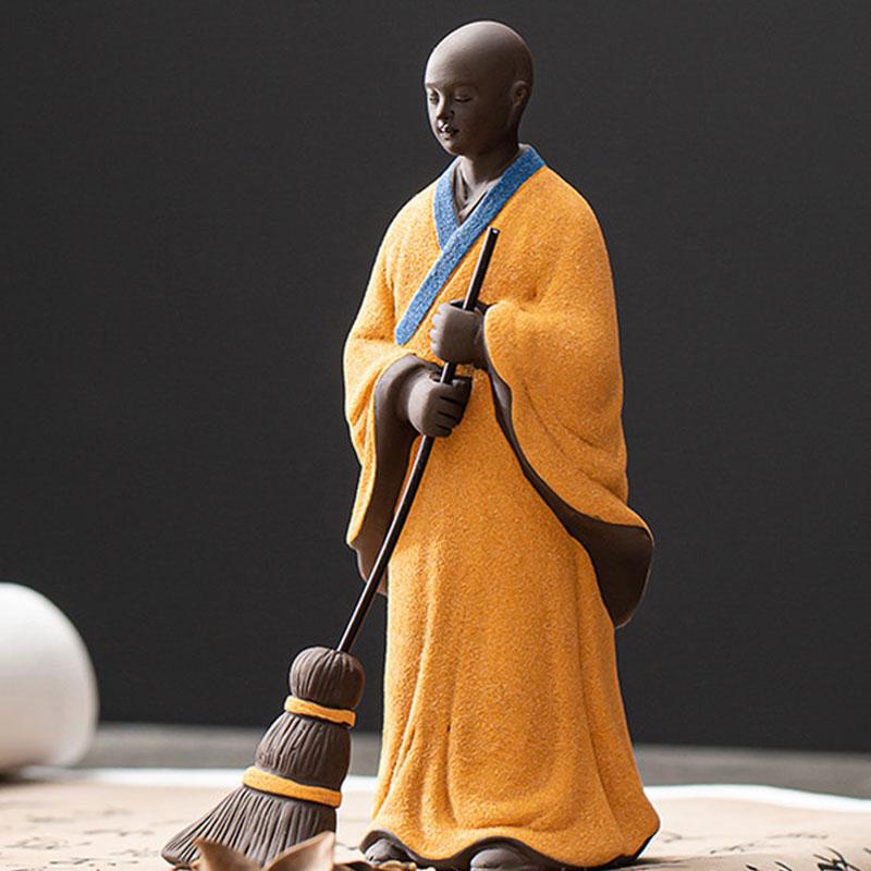 الإبداعية السيراميك الشكل كنس الراهب ديكور buddhas أرقام الشاي الحيوانات الأليفة ديكور المنزل 1 قطعة