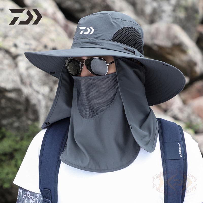 2021 New Men Daiwa Fishing Hat Outdoor Fishing Cap Uv Protection Adjustable Breathable Sunshade Solid Casual Thermal Fishing Hat