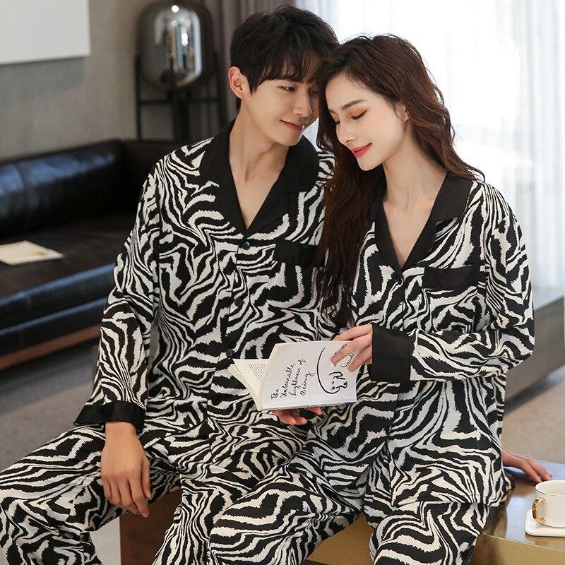 Новинка леопард принт одежда для сна пары пижамы комплект для женщин мужские атлас шелк кимоно мужские пижамы уютные мягкие ночная рубашка дом одежда