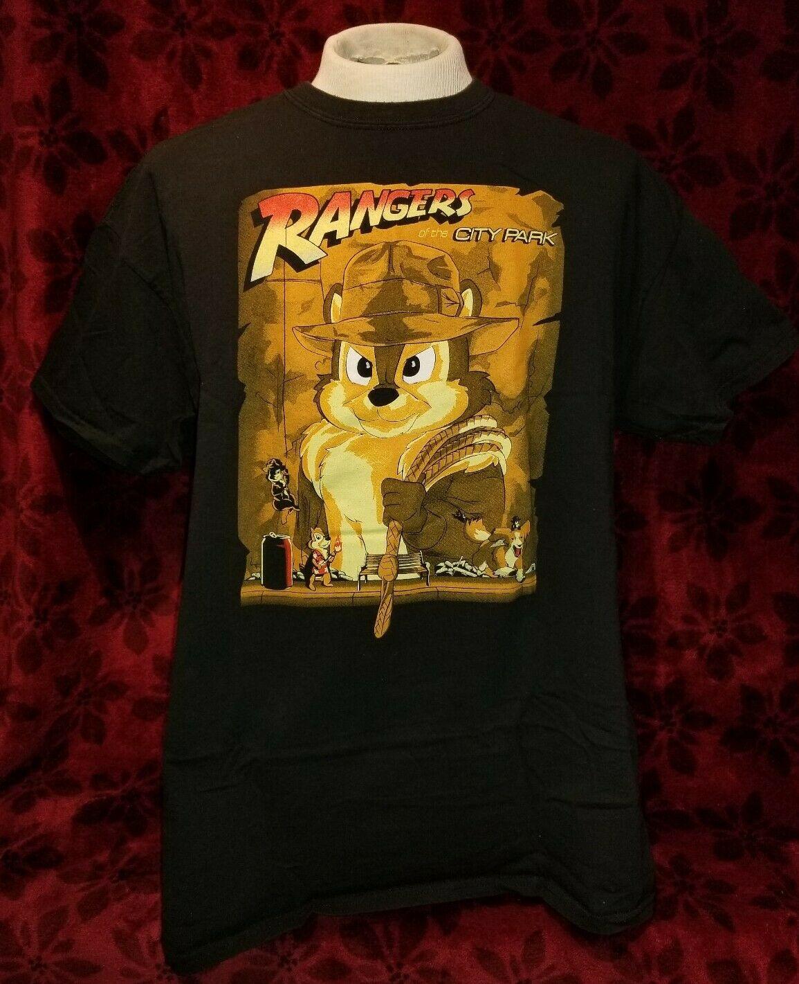 Camiseta de los Rangers del parque Xl, Chip N Dale Rescue Rangers Indiana Jones, parodia