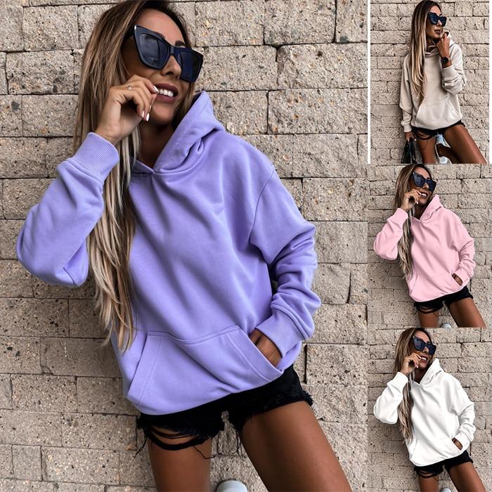 Mulheres cor sólida oversize hoodie 2020 harajuku plus size inverno quente básico moletom casual manga longa grosso com capuz topo