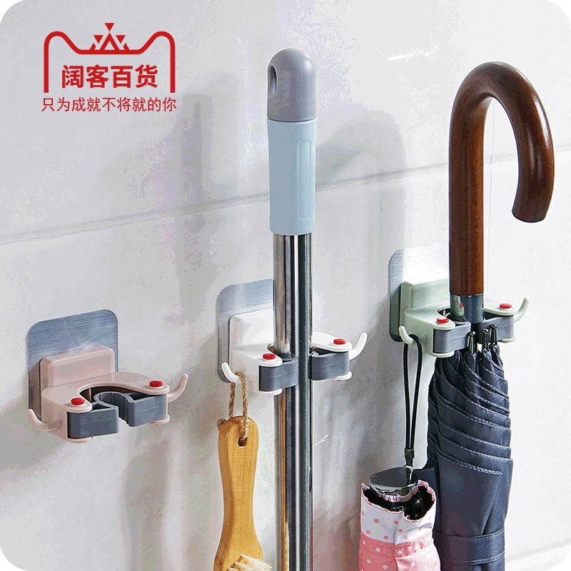 Hole-Punched Mop Clip Useful Product Mop Mop Hook Strong Wall Hangers Wall Toilet Broom Fixed Storage Rack