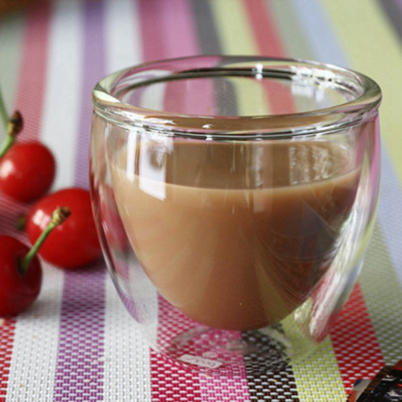 1pc 80/250/350 ml Double Layer Glass C1pc 80/250/350 ml Double Layer Glass Cup Heat Insulation Tea Cup Handmade Milk Coffee Mug