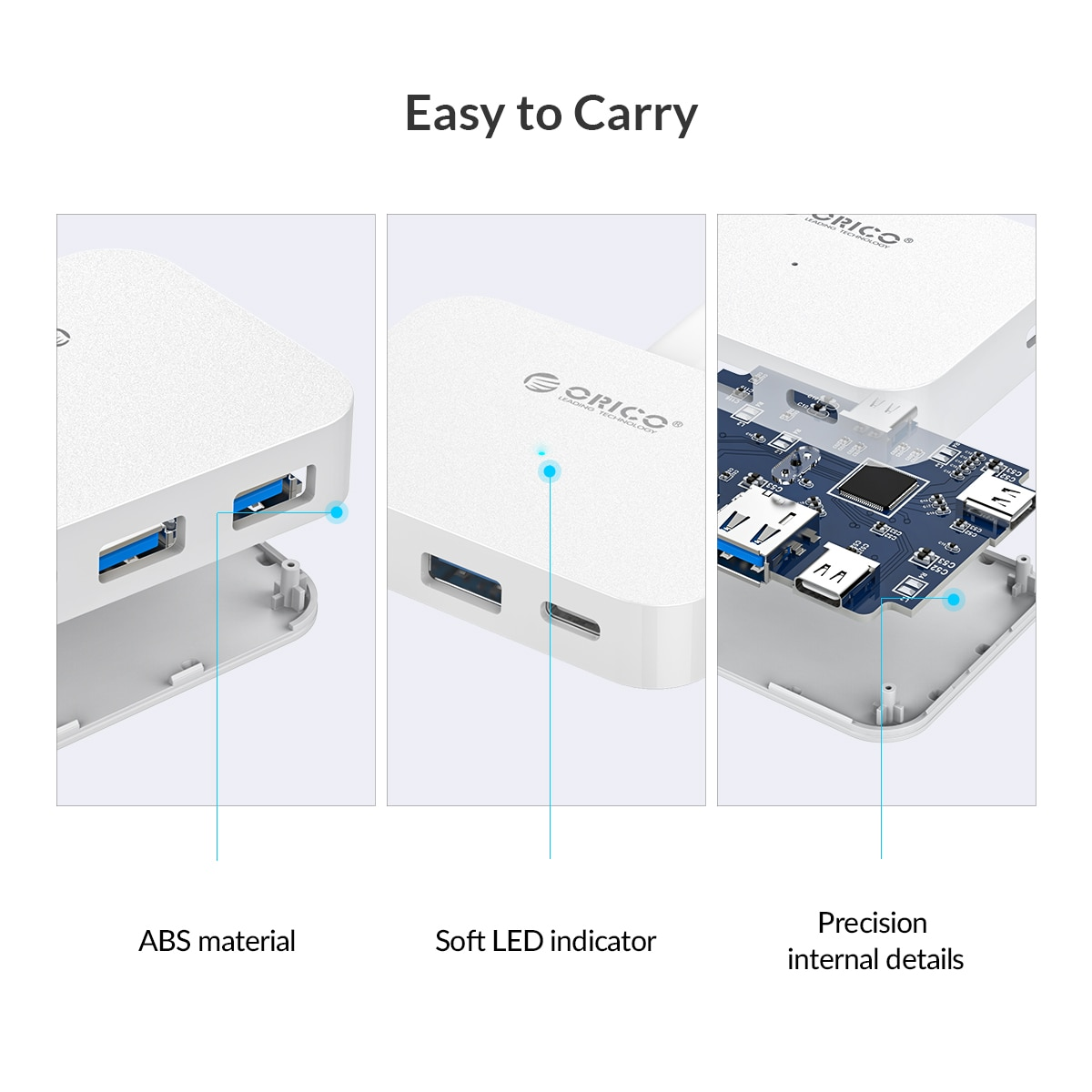 ORICO High Speed USB Type-C HUB USB3.1 5Gbps USB Splitter Adapter OTG Adapter for PC Laptop Notebook Desktop Accessories enlarge