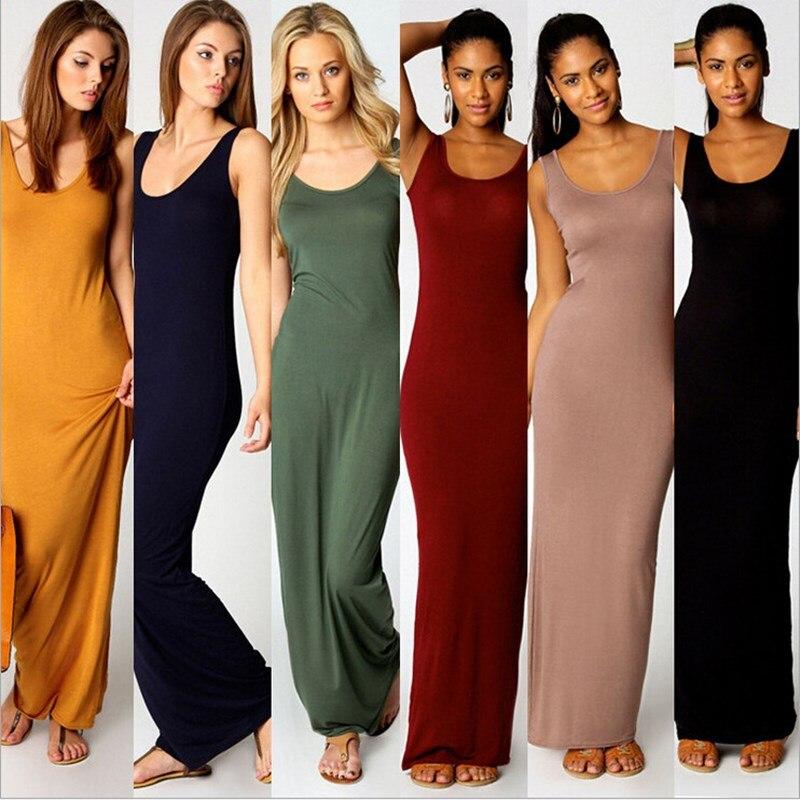 Women Maxi Dress Summer Causal Sleeveless Tank Dress Solid Basic Bodycon Long Dresses Femme Robe Plus Size 3XL Sundrss Vestidos