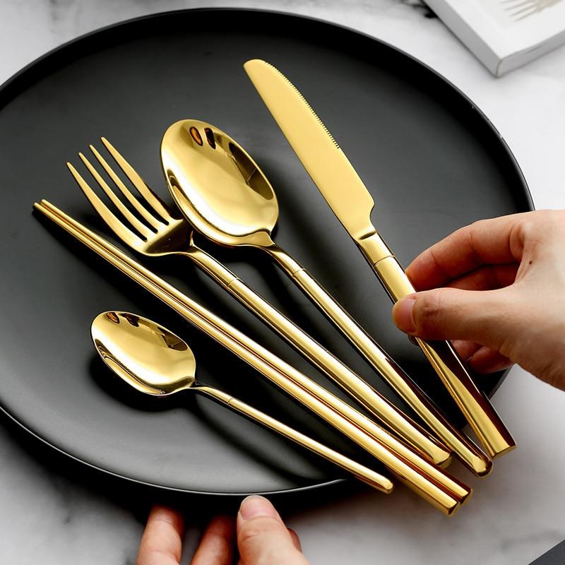 KuBac Hommi 30pcs Gold Cutlery Set 18/10 Stainless Steel Chopsticks Dinnerware Sharp Dinner Knife Golden Tableware Set