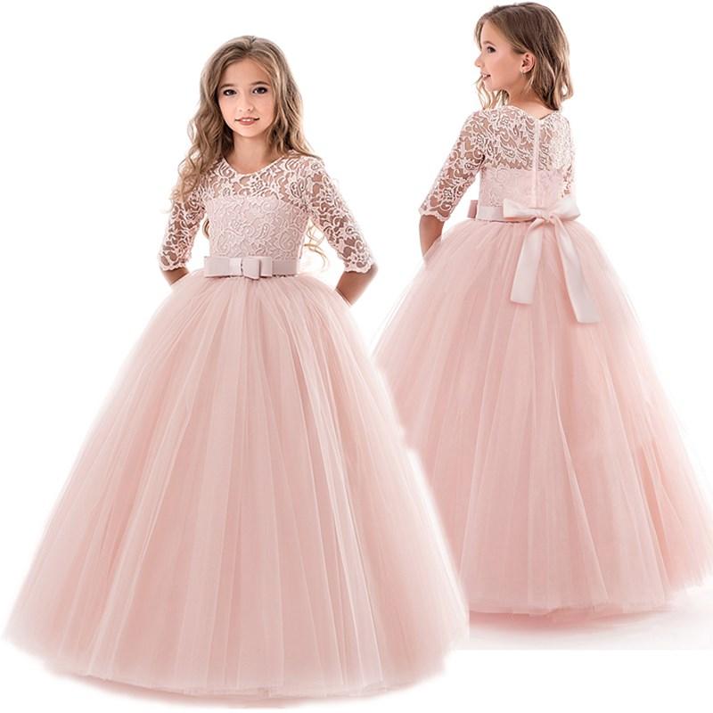 Teenage Girls Dress Summer Children's Clothing Party Elegant Princess Long Tulle Baby Girls Kids Lace Wedding Ceremony Dresses
