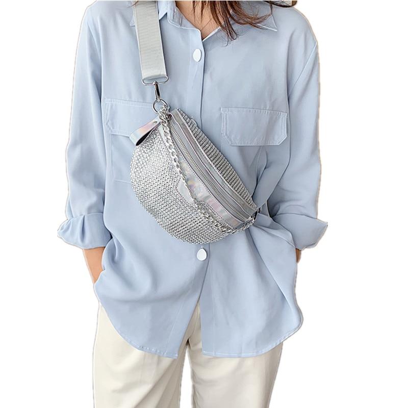 Bolsas de cintura ostentosas de diamante de moda para mujer, riñoneras 2020, bolso de cinturón, bolsos cruzados de empalme para el pecho, bolsos de cintura