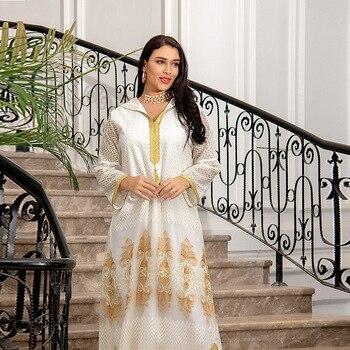 Middle East Muslim Islamic Eid Al-Adha Festival Gurban Gold Embroidered Hooded Net Yarn Big Tunic Dubai Arab Women's Clothing