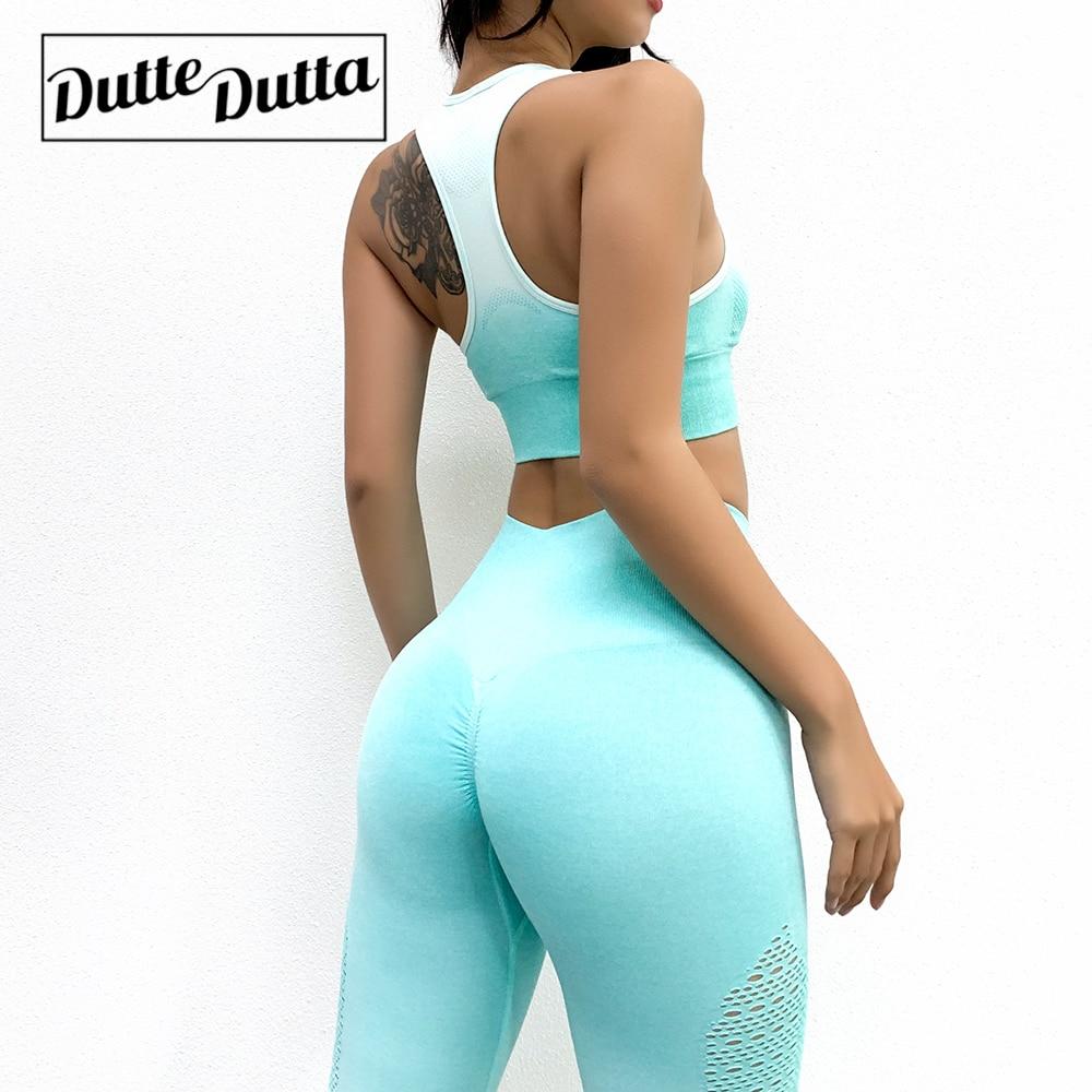 Neue 2 Stück Gradient Yoga Hosen Eng Hohe Taille Nahtlose Yoga Anzug Sport Stretch Fitness Bh Yoga Sets Atmungsaktiv Schweiß