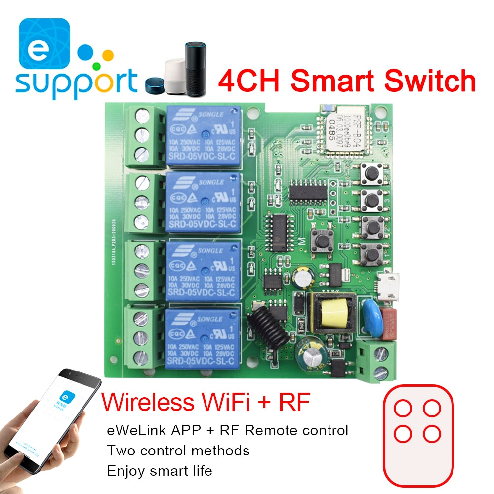 eweLink Smart WiFi Switch Module Receiver 4CH 5V 7V-32V 85V 220V 250V Home Automation WiFi 10A Timer Relay For Alexa Google Home
