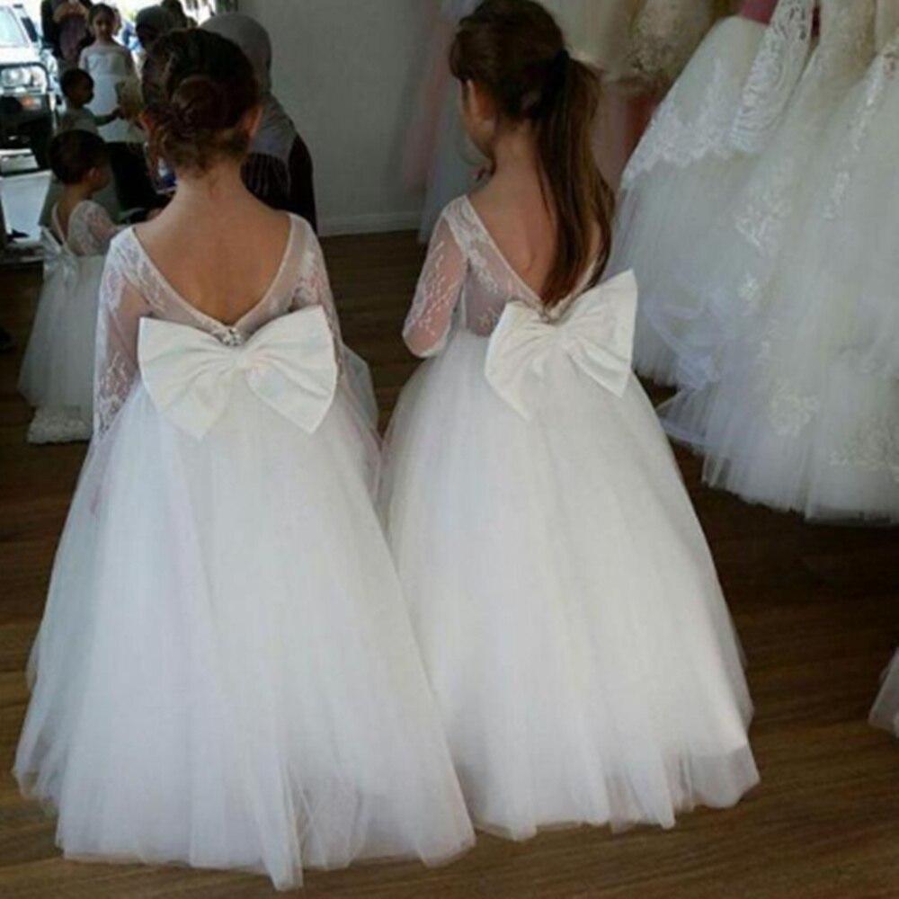 فستان زفاف أبيض مزين بالورود والدانتيل ، تول ، رقبة مستديرة ، توب هالتر ، فستان رسمي للبنات ، أول فستان مناولة للأطفال