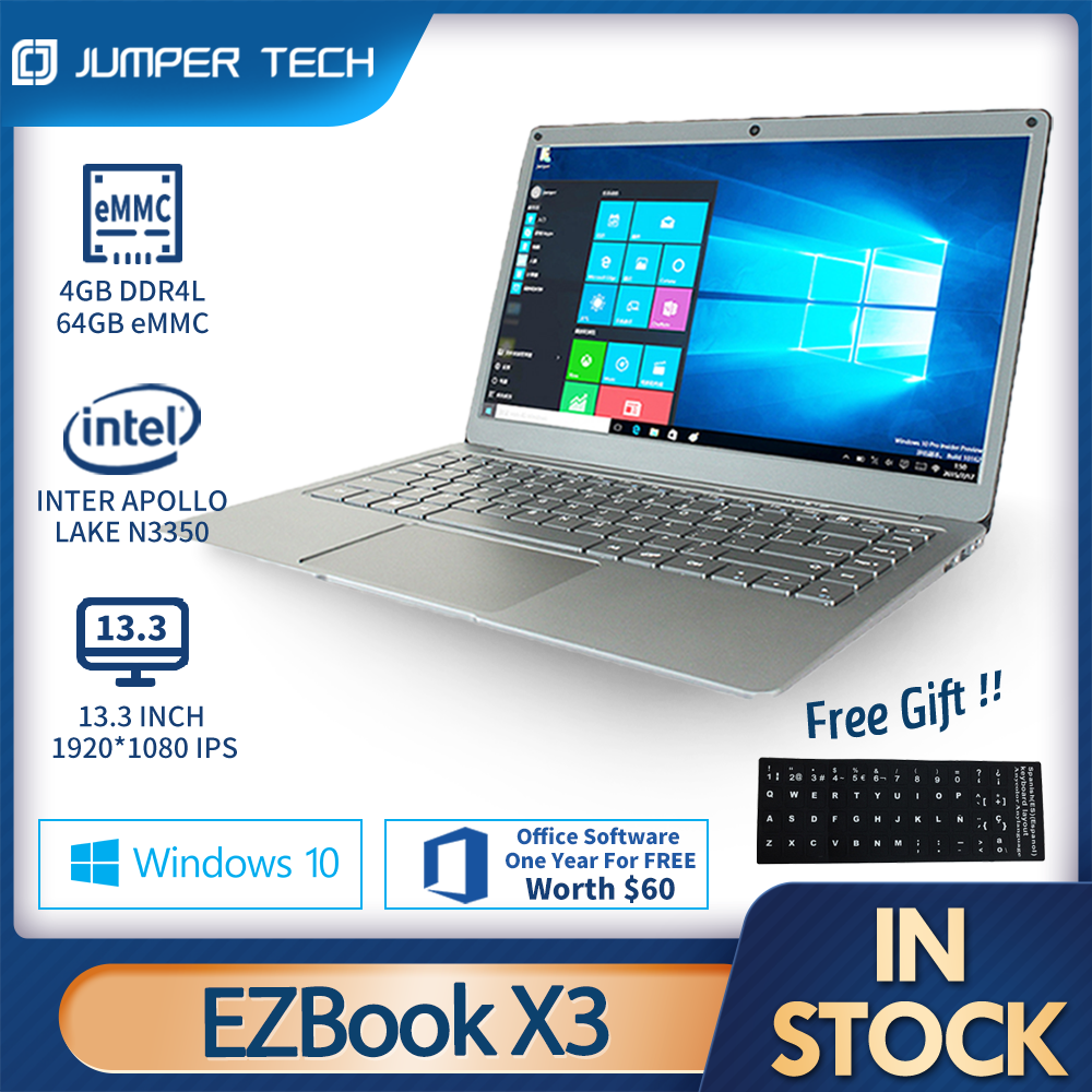 Notebook Window 10 Jumper EZbook X3 13.3 inch 1080P IPS Display Apollo Lake Intel N3350 4GB 64GB eMMC Microsofe Office