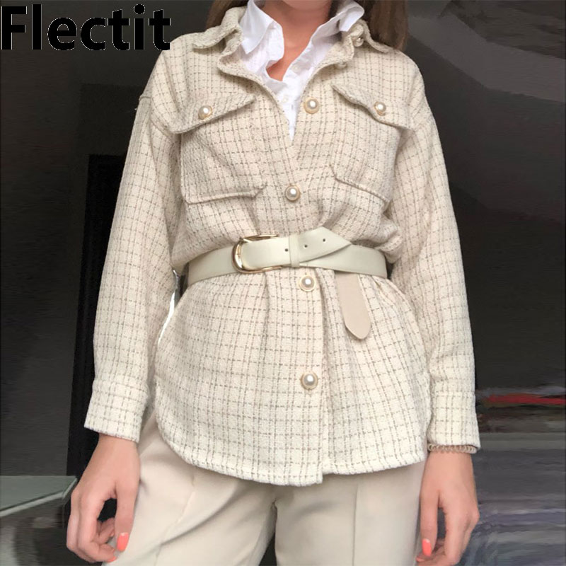 Flectit-قميص تويد نسائي ، سترة ، زر لؤلؤي ، جيب رفرف ، ياقة طية صدر السترة ، أكمام طويلة ، فتحة