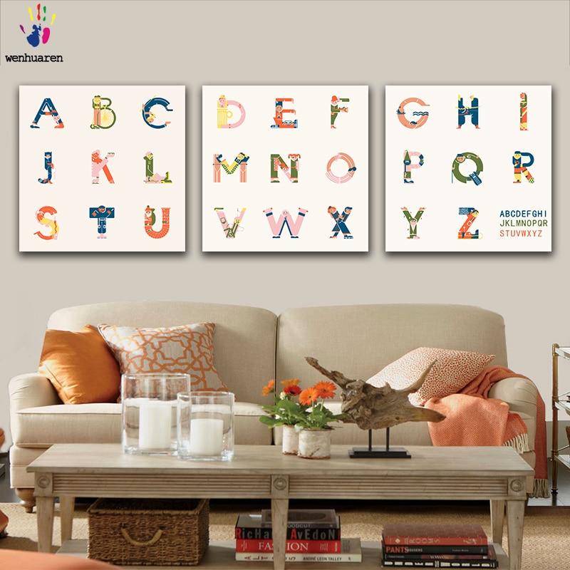 DIY colores imágenes por números con colores inglés 26 letras dibujo pintura por números decoración enmarcada tres piezas