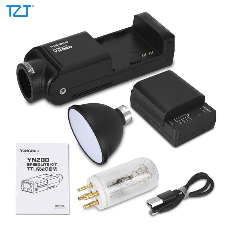 مصباح فلاش TZT YONGNUO YN200 TTL HSS Speedlite 5600k 200W بطارية ليثيوم GN60 لكاميرات كانون ونيكون