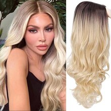 AOSI longue perruque ondulée racine sombre aucune dentelle partie moyenne côté cheveux Ombre synthétique Cosplay perruque Blonde perruques résistant à la chaleur pour les femmes