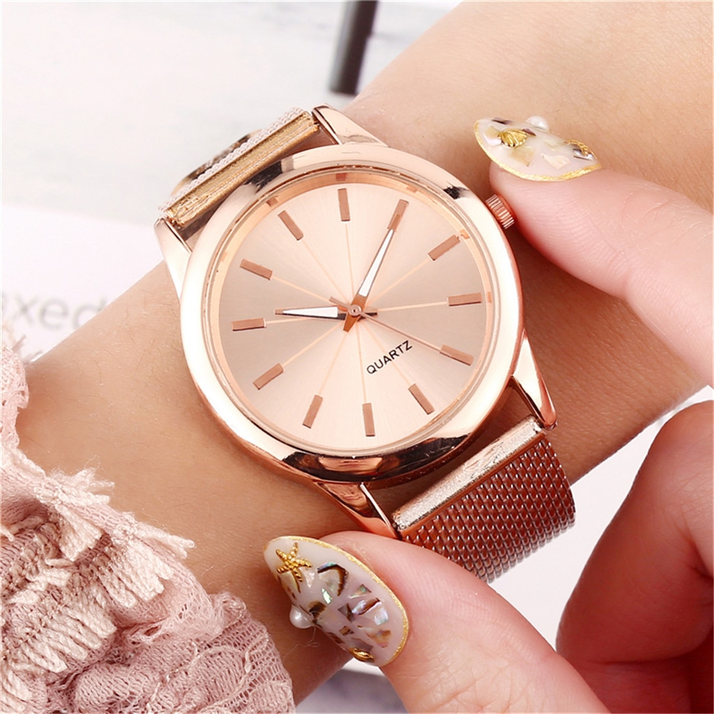 Luxury Mesh Stainless Steel Strap Watches Woman Fashion Round Dial Quartz Watch Casual Classic Vinta