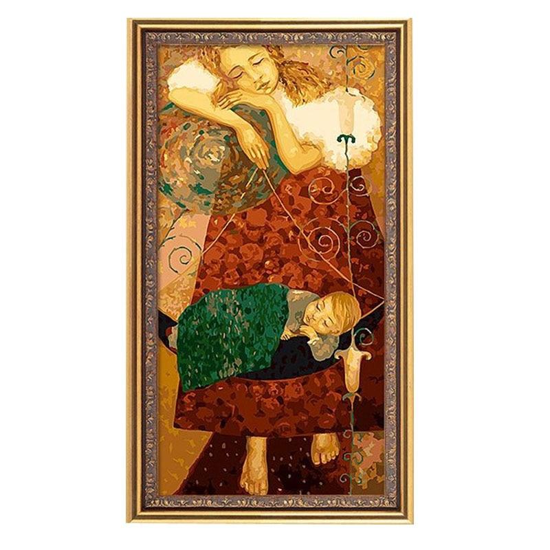 50x100cm tela de lino grande nunca se desvanece madre e hijo Diy pintura Digital por arte de pared mano moderna pintado pintura de aceite