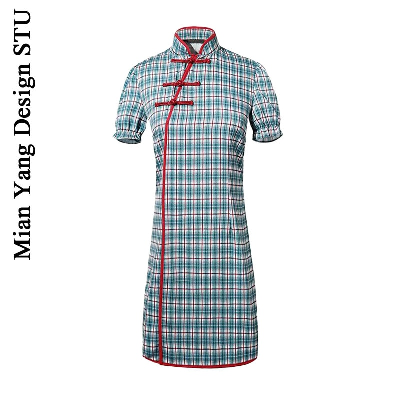 Retro Chinese Republican Style Plaid Cheongsam Dress Slimming Slim-Fit Side Zipper Dress Hemming Buc