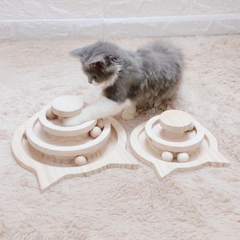 26X26X11CM tres niveles torre de madera pistas gato pelota interactiva juguetes gato inteligencia juego de atracciones disco gato disco con pelota loca