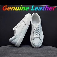 womens casual vulcanize shoes white genuine leather 2021 sport walking running summer platform flats woman sneakers