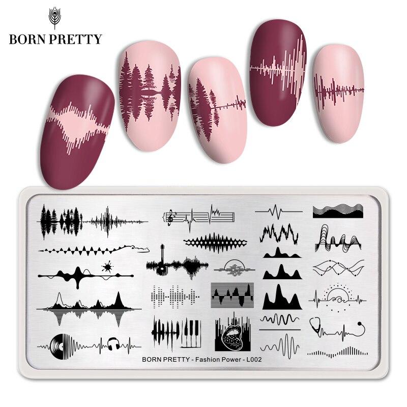 BORN PRETTY Music Waves Nail Stamping Plates Fashion Patterns Nail Art Image Print Template Rectangle Stamp Radio signal
