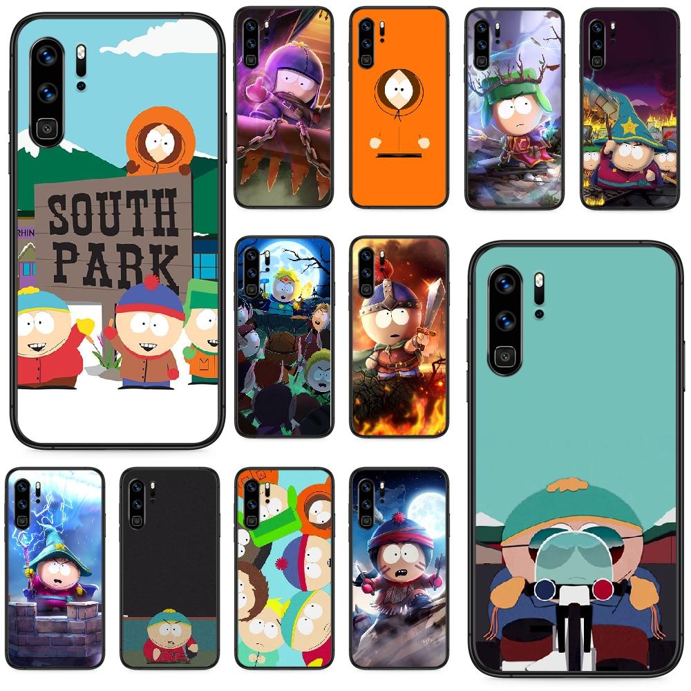 Funda de teléfono bonita y divertida caricatura de South Park para Huawei P 9 Smart 10 20 30 40 8 Lite Mini Z 2019 Pro, parachoques suave impermeable negro