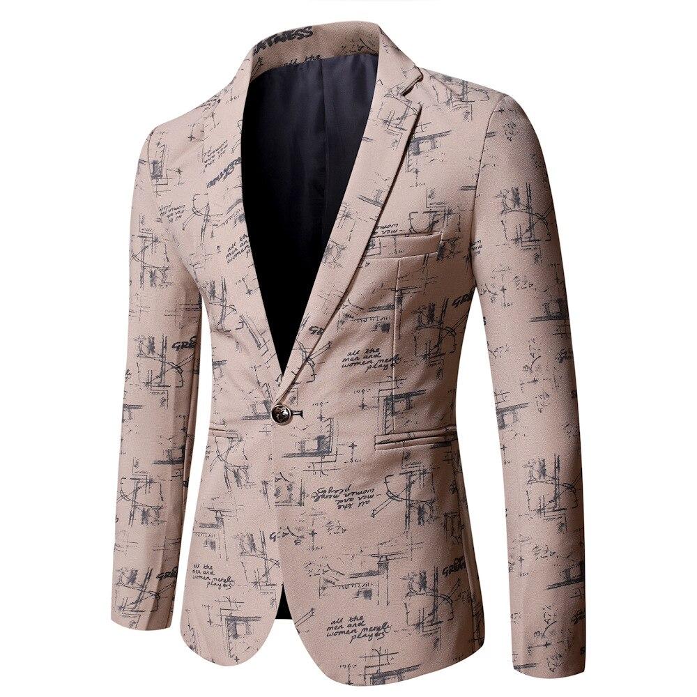 Мужской модный костюм высокого качества с принтом, повседневный Свадебный деловой мужской блейзер, куртка, Мужской приталенный мужской бле...