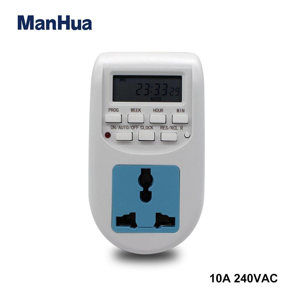 Manhua TG66E Digital interruptor com temporizador de la UE hembra electrónico programable semanal con pantalla LCD